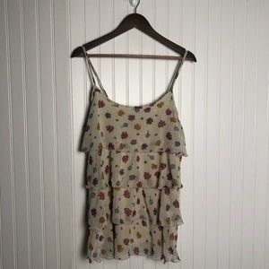 Libian Delicate Tiered Ruffle Floral Tank Top